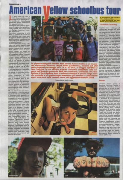 "Frigidaire n°227 di settembre 2010 Reportage ""American Yellow Schoolbus Tour"""